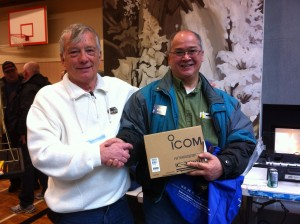 Photo of raffle prize winner Ted, VE7LEE, with his IC-2300H