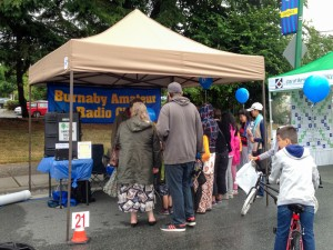 Photo of the Burnaby Amateur Radio Club booth during the Edmonds City Fair